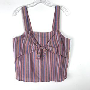 Madewell Tie Front Striped Cami Tank Top #2054